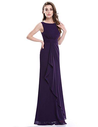 Ever Pretty Damen Elegant Ärmellos Lang Abendkleider Maxikleider 08796 Dunkle Violett