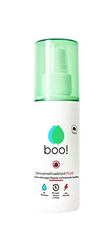 boo! Plus - Extra Starkes Insektenspray   Insektenschutz als Spray gegen Mücken, Milben, Bettwanzen etc   Insektizid auf Wasserbasis   Langzeitwirkung von bis zu 3 Monaten   100 ml