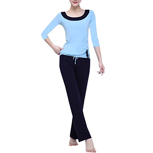 Sidiou Group Yoga Kleidung Modal Yoga Anzug Kleidung von Tanz dünne Sport Anzug Fitness-Kleidung Mode Sport Anzug (Blau Schwarz, M)