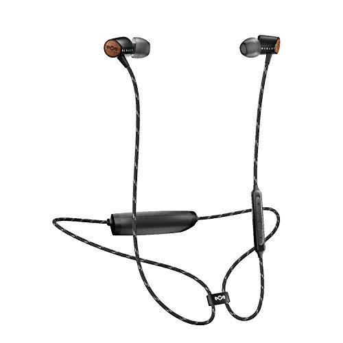 House of Marley Uplift BT - Bluetooth In-Ear Kopfhörer, Geräuschisolierung, Mikrofon, 3-Knopf Steuerung, lange Akkulaufzeit, ergonomisches Design für optimalen Sitz, nachhaltige Materialien - Black (Marley Kopfhörer Wireless-bob)