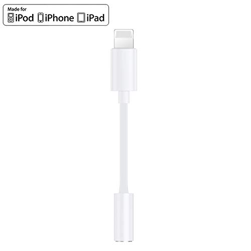 Headphone Adapter for iPhone 8 Earphone Adapter for iPhone Adapter Headphone Jack to 3.5mm Headphone AUX Audio Jack Adapter Compatible for iPhone 7/7P/8/8P/X/XR/XS/XS Max/11 Support All iOS - White