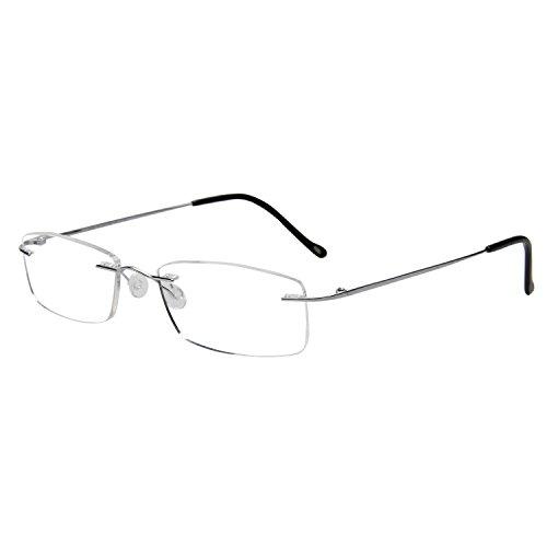 LianSan Titanium Frameless Lesebrille Männer Leichte Mode Randlose Leser Gläser Frauen L8085 silber +3.25