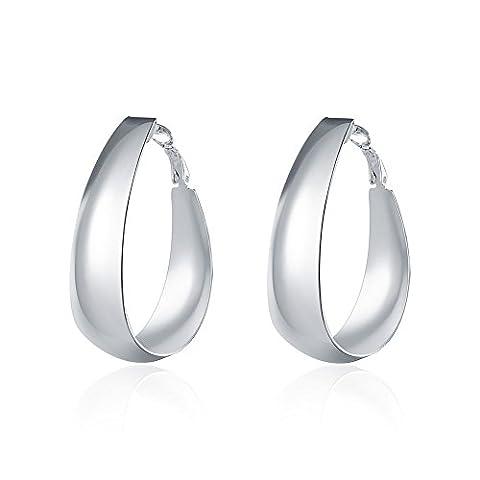 Bodya Mode Plaqué argent lisse Grand Grande bague de paillettes ovale Boucles d'oreilles créoles Cool Femme Bijoux