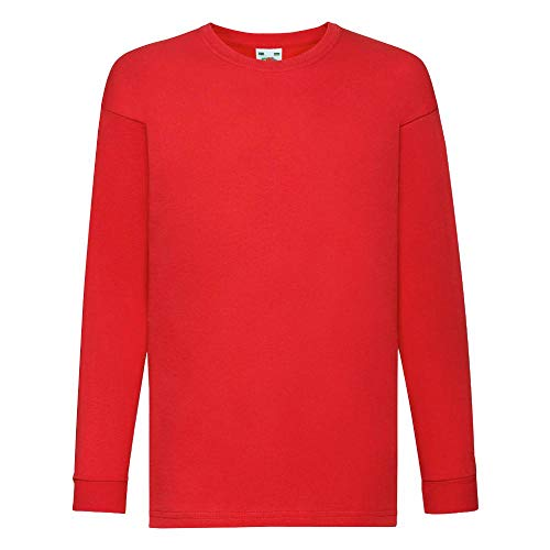 Fruit of the Loom - Kids Langarm T-Shirt Value Weight T 128,Red