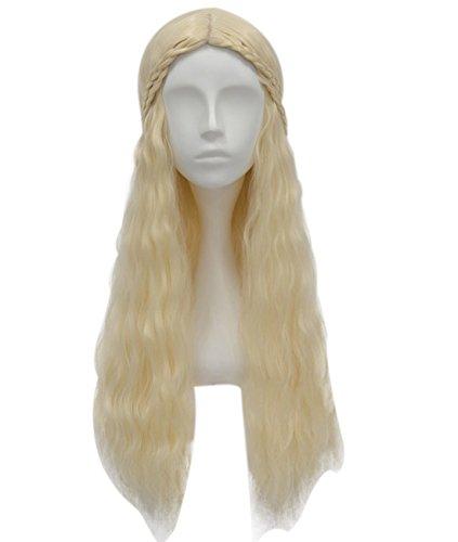Mujeres Vintage largo rizado disfraz infantil de peluca tejido Rubio Cosplay Partido Peluca