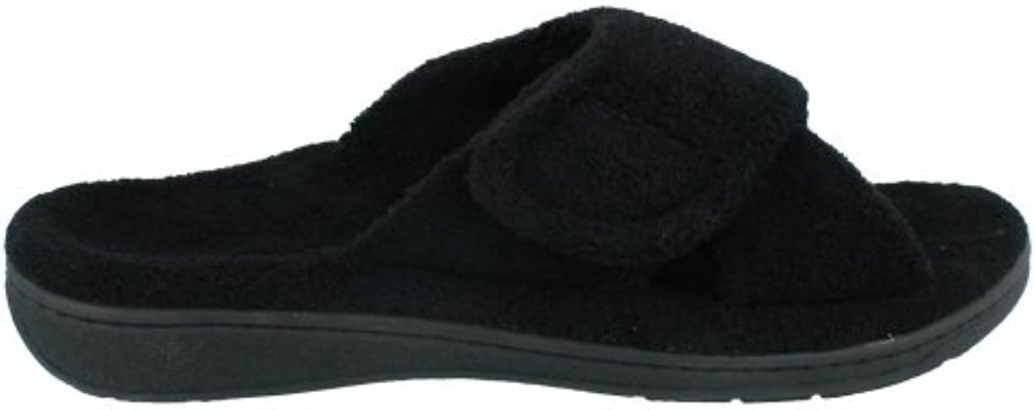 Orthaheel Relax Slipper Womens Size 6 Black Open Toe Textile Scuffs Shoes