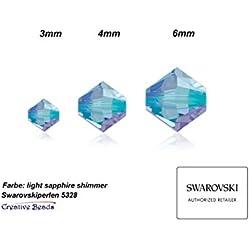 Creative-Beads swaro vski Perles, 3mm, double cône, konisch, 5328, 25stück, Light Sapphire Shimmer. nouvelles couleurs Effet, surface ausdrucksvolle. Haute Bracelets colliers et boucles d'oreilles à