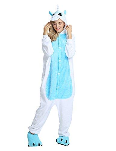 Einhorn Kostüm Karton Tierkostüme Halloween Kostüme Jumpsuit Erwachsene Schlafanzug Unisex Cosplay- Gr, L(Höhe162-175CM), Einhorn blau (Großes Mann Halloween Kostüme)