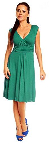 Zeta Ville Damen Ärmelloses Tageskleid Cocktail Sommer Kleid Gr. 36-46 256z Teal