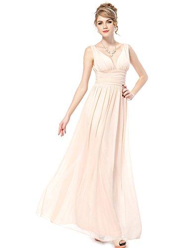 Ever Pretty Elegant V-Neck Long Chiffon Diamante Party Formal Maxi Evening Dress 09016, HE09016BP08, Pink, 8UK