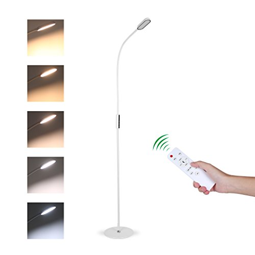 Tonffi Fernbedienung Stehleuchte dimmbar 9W LED mit Touch-Schalter Schwanenhals 360 drehbarem 5 Helligkeitsstufen weiss