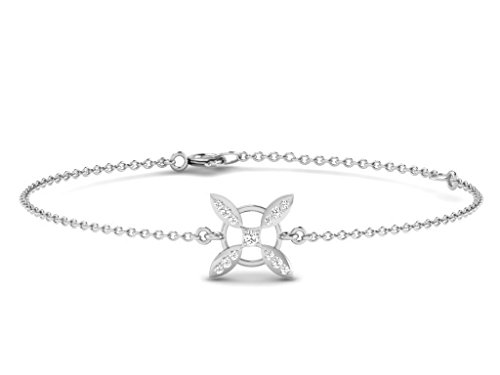 Or Blanc 9 ct Bracelet Diamant , 0.08 Ct Diamant, GH-SI, 0.31 grammes.