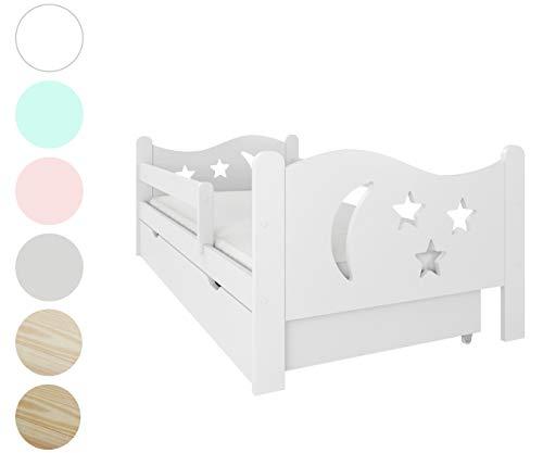 NeedSleep Rausfallschutz Kinderbett Komplett - Bett mit Matratze 80x140 80x160 Lattenrost Schublade | Kinder ab 2 jahren | Mädchen Junge I Montessori Kinderzimmer Funktionsbett (Weiß 80x160)