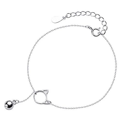 Allgut Katze Armband Mädchen, 925 Sterling Silber Kätzchen Glocke Charm Armband Damen Verstellbare Armkette Armkettchen Bettelarmband (Sterling Silber Katze Armband)