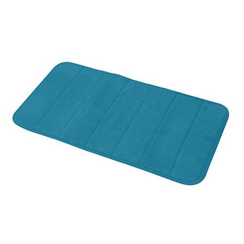 Carpemodo Schaumstoff Super Absorbierende Schnell Trocknende Badematte / Memory Foam / Größe: 40x70 cm / Farbe: Petrol Blau / groß geriffelt