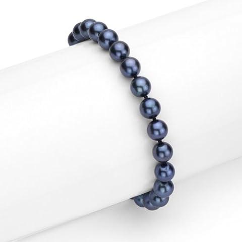 Or blanc 14K 6–6,5mm Ramassées AAA Noir Akoya de culture de bijoux Perle Bracelet, 17,8cm