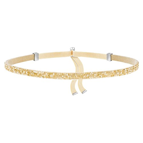 (Swarovski Damen-Halsreif Edelstahl Stoff Kristall Gold 30 cm - 5279166)