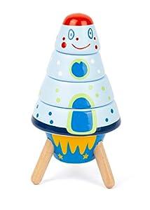 11450 Cohete para apilar Space, Small Foot, de Madera, Juguete de motricidad, 5 Piezas