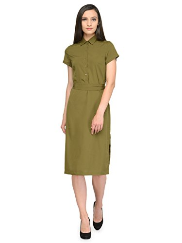 Tunic Nation green solid midi crepe dress [ Size- XS ]