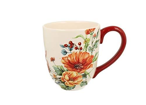 Duo Jumbotasse Becher XXL folkloristische Deko 810 ml Keramik Trinkbecher Smoothie Becher Geschenk Büro Tasse für Kaffee Teetasse Cappuccino Kaffeebecher Jumbo-Tasse Riesentasse XXXL (Red Flowers)