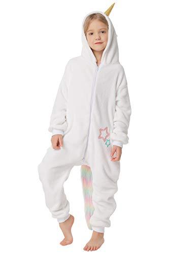 corimori 1851 Mia das Einhorn Kinder Jungen Mädchen Onesie Jumpsuit Anzug Kostüm Verkleidung (Gr. 110-130 cm), (Weißes Einhorn Kostüm)