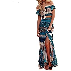 Gperw Bohemian Dress One Shoulder Dress Vestido de Dos Piezas High Split Fork Dress