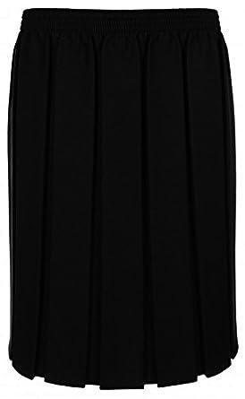 Ladies Skirt Pleated Elasticated Waist Black Grey Navy Womens ...