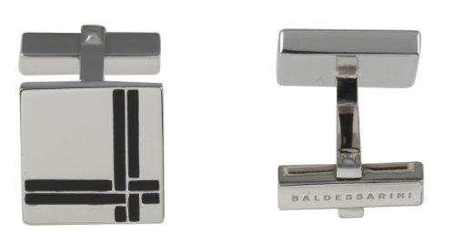 Hugo Boss Oxydised argento-Gemelli da uomo a forma di croce, in smalto, colore: nero