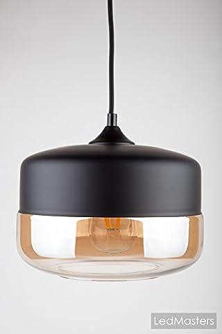 Modern Pendant Light Ceiling Amber Glass Lamp Shade Industrial Vintage Model 111