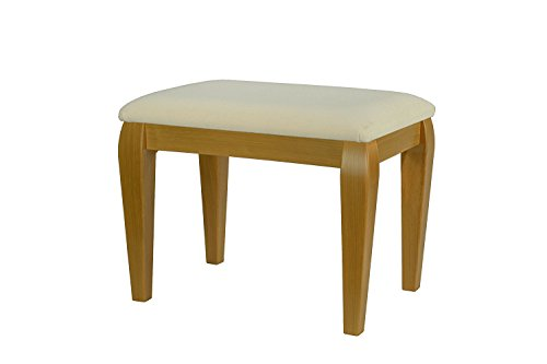 High Street Design Beech Grain Large Dressing Table/Foot Stool with Classic style legs and Ivory Fabric Cushion