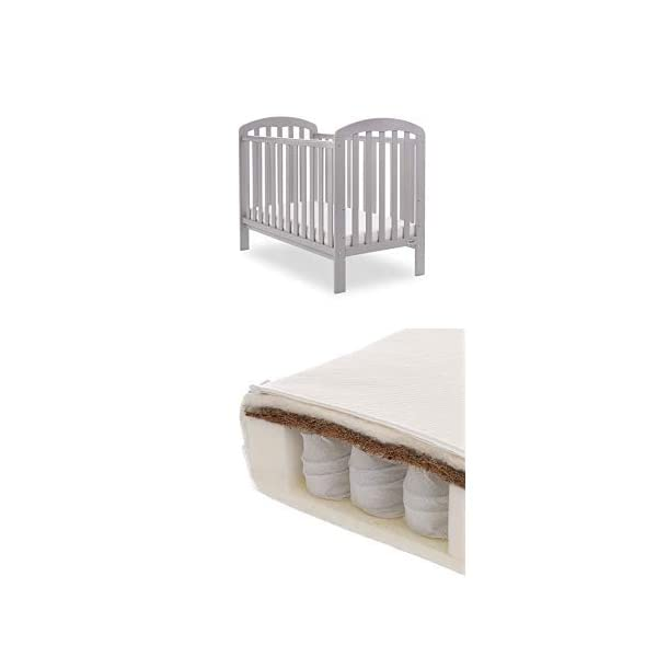 Obaby Lily Cot and Moisture Management Mattress - Warm Grey Obaby Suitable from birth to 18 months approximately Three position mattress height with protective teething rails Internal measurements of 120 x 60cm 1