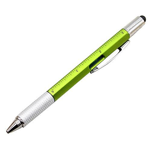 1 x 6 in 1 Schraubendreher Werkzeug Stift Mini Multifunktionsstift mit Stylus Lineal 1,0 mm Kugelschreiber Spezial-Nachfüller 15 * 1 cm grün
