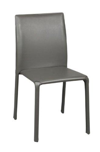 PEGANE Chaise d'une structure métalique, recouverte de PVC grise, Dim L460 x P550 x H830 mm