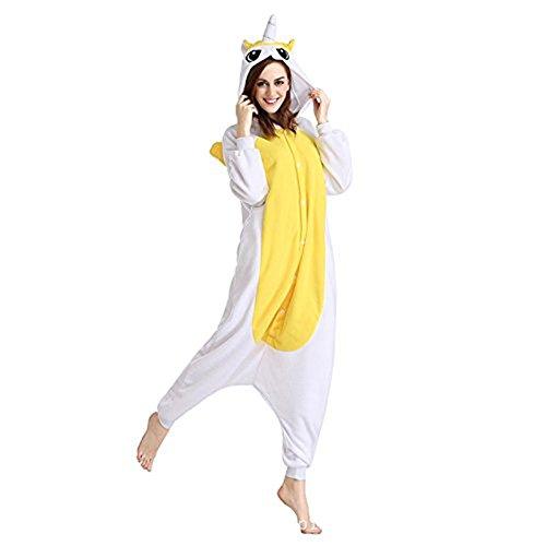 Mystery&Melody Süßes Einhorn Overalls Jumpsuits Pyjama Fleece Nachtwäsche Schlaflosigkeit Halloween Weihnachten Karneval Party Cosplay Kostüme für Unisex Kinder und Erwachsene (L, ()