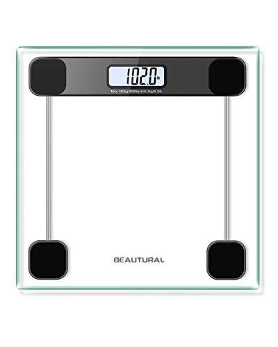 Beautural precisione digitale corpo bilancia pesapersone con tecnologia Step-on, display LCD retroilluminato, 6mm, vetro, max peso 181,4kilogram/180kg