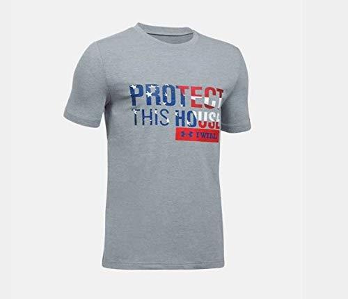 Under Armour Herren Freedom Pth T-Shirt kurzärmelig, Steel Light Heather (035)/Red, X-Large - Red Light Heather