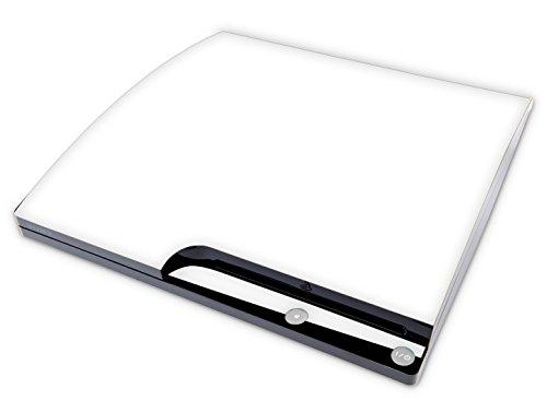 Skins4u Aufkleber Design Schutzfolie Vinyl Skin kompatibel mit Sony PS3 Playstation 3 Slim Konsole Solid State White