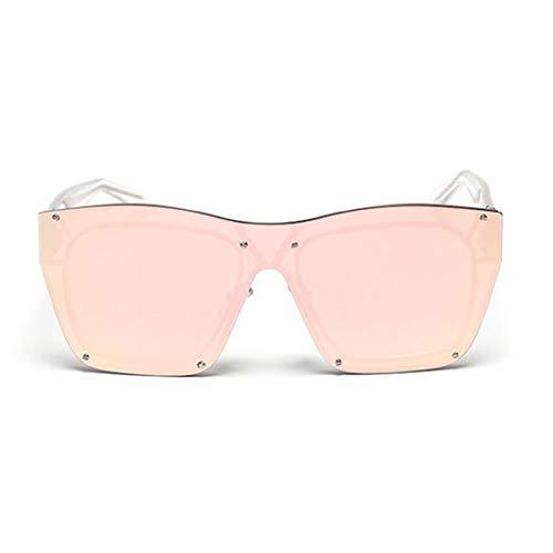 Klarer Rahmen einteiliger Stil Frameless Sonnenbrille für Frauen Männer UV-Schutz Brille (Farbe : Rosa)
