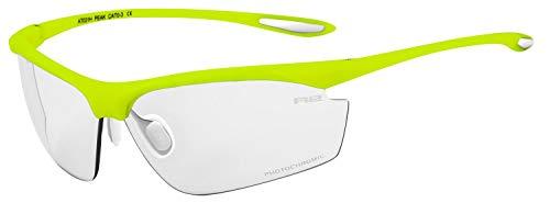 R&R Multi-Sportbrille Peak   Sonnenbrille   Radbrille   Laufbrille   Golfbrille   Tennisbrille (Neongelb, Tönungsgrad 0-3)