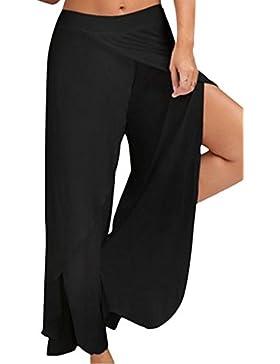 La Mujer Pantalones De Yoga Pantalones Leggings Pierna Ancha Split Palazzo