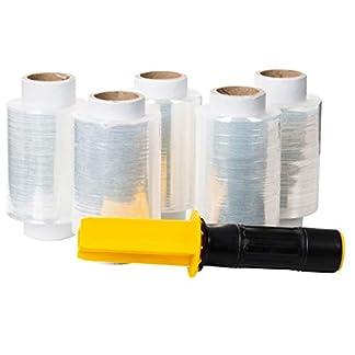 5 mini rollos de lámina elástica de 10 cm y 0,25 kg (transparente) + dispensador de mano con frenos