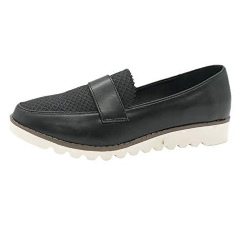 B-commerce Frauen Weiche Erbsen Flache Schuhe - Retro Frauen Runden Kopf Wohnungen Flach Mund Plattform MüßIggäNger Bootsschuhe