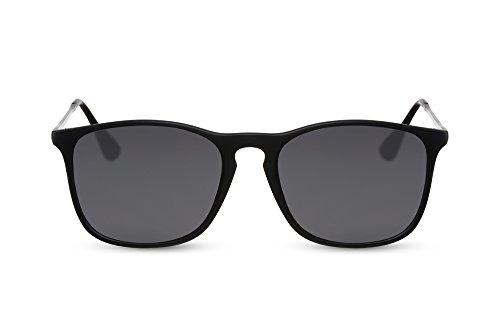 Cheapass Sonnenbrille Recht-Eckig Schwarz Grau-e Gläser UV-400 Metall-Bügel Sport-lich Damen Herren