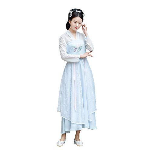 ische Kleid der Frauen, traditionelles gesticktes Hanfu Cosplay Kostüm, Tang Suit Traditional Vintage Langarm Cosplay Performances Rock, Halloween Weihnachten,M ()
