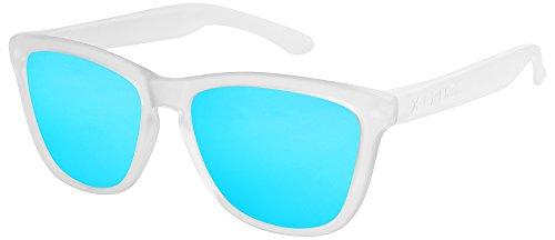 X-CRUZE® 9-048 X0 Nerd Sonnenbrillen polarisiert Style Stil Retro Vintage Retro Unisex Herren Damen Männer Frauen Brille Nerdbrille - transparent matt/hellblau verspiegelt