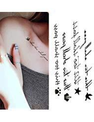 Oottati Mini Niedlich Temporäre Tattoo Vogel Krone Englisch Wort This Too Shall Pass(Set Mit ()