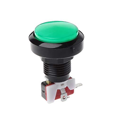 Hergon 45 mm Push Arcade Button, 12 V Power LED beleuchtet, runder Mikroschalter, glas, grün, m