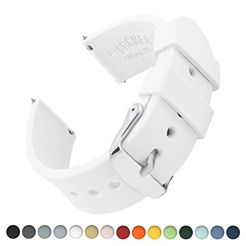Archer Watch Straps Silikon Uhrenarmband mit Schnellverschluss - Weiß, 24mm (Silikon Fossil Uhrenarmband)