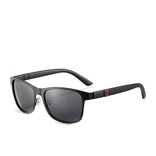 HUILIN Markenmetalldesigner polarisierte Sonnenbrille, die quadratische Sonnenbrille der Männer Herrenmode-Reisebrille, schwarzer Rauch C2 fährt