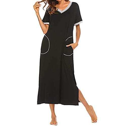 POachers Longue Chemise de Nuit Femme V-Cou Lâche Sleepwear Tunique T-Shirt à Manches Courtes Maxi Robe de Nu